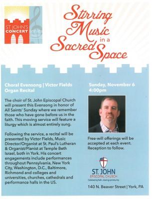 St. John Episcopal Choral Evensong/Victor Fields Organ Recital