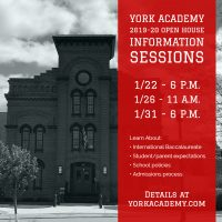 York Academy 2019-20 Open House Information Sessions