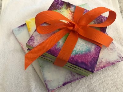 DIY Gift Alcohol Dyed Coasters and Trivets