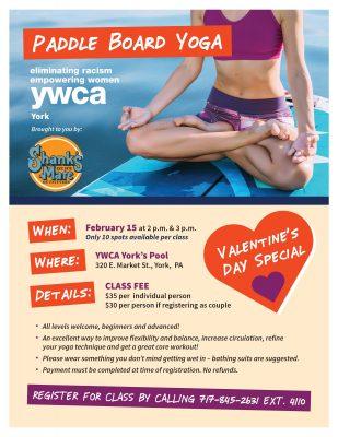 YWCA York Paddle Board Yoga Valentine's Day Special
