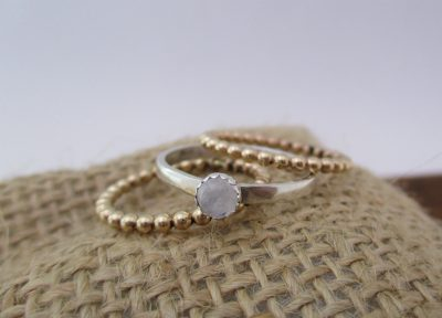 STERLING SILVER AND GOLD-FILLED MOONSTONE STACKING RINGS CLASS, 2/23/20, 12:00 PM-3:30 PM