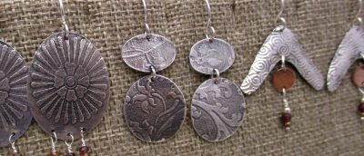 TEXTURED STERLING SILVER EARRINGS CLASS 3/12/20, 1...