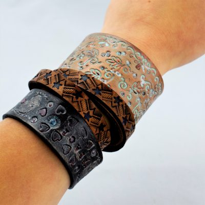 all workshops cancelled until 4/18 LEATHER STAMPED BRACELET CLASS, 3/28/20, 11:00 AM-1:00 PM