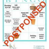 **** POSTPONED **** H.O.P.E.'s Spring Basket Bingo