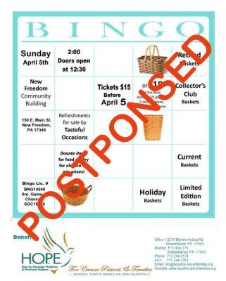 **** POSTPONED **** H.O.P.E.'s Spring Basket Bingo...