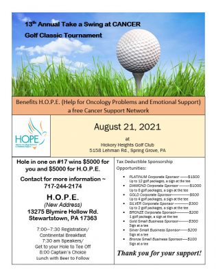 13th Annual Take A Swing At CANCER Golf Classic To...